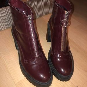 Forever 21 maroon patent leather booties